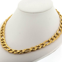 Edforce Stainless Steel Italian Solid Figaro Link Chain Necklace, 23.6""