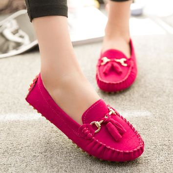 Candy Color Women Loafers Tassel Fashion Round Toe Ladies Flat Shoes Woman Sweet Bowtie Flats Casual Shoes 2261