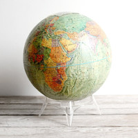 vintage world globe w/ raised terrain by lacklusterco on Etsy