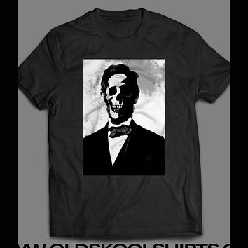 ABE LINCOLN SKULL SCARY T-SHIRT