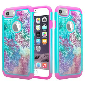 For Apple iPhone 6S / 6 Case, Slim Hybrid Crystal Rhinestone Dual Layer [Shock Resistant] Protective Cover for iPhone 6S / 6 - Teal Flower