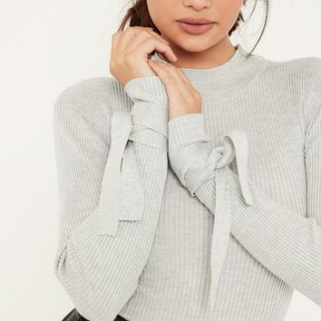 Missguided - Grey Tie Sleeve Roll Neck Bodysuit