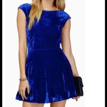 TOBI Blue Velvet Open Back Fit Flare Skater Dress S