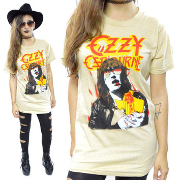 Vintage 80s Ozzy Osbourne Bites the Big One Texas Tour Concert T Shirt Sz M