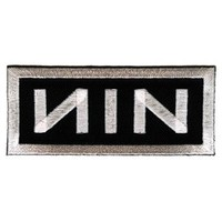 Nine Inch Nails - Rectangle NIN Logo, White on Black - Embroidered Iron On or Sew On Patch