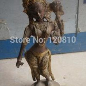 exquisite Old Silver-plated copper happy deity buddha Statue/ Sculpture,best collection
