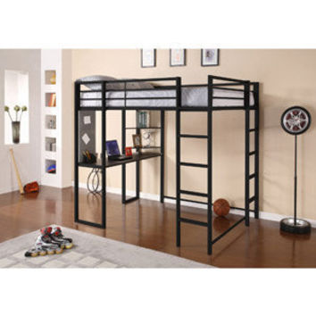 Walmart: Adobe Full Metal Loft Bed over Workstation Desk, Black