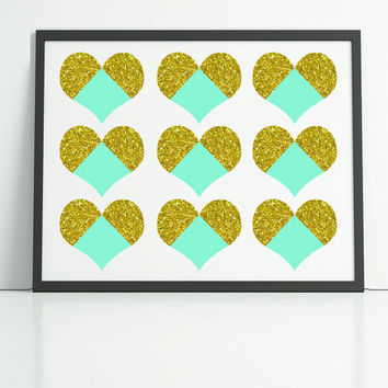 Mint and gold glitter hearts, geometric print, girly print for home or office, ideal gift, dorm room art idea, love hearts, pastel heart.