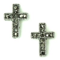 Crystal Pave Small Cross in Antique Finish Stud Earrings