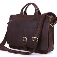 Mens Genuine Leather Briefcase Laptop Tote Bags Shoulder Business Messenger Bags (J26)
