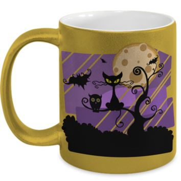 Creepy Full Moon Witch Coffee Mug For Women Cat Bat Owl Holiday Gift Tea Cup Halloween Gifts For Kids