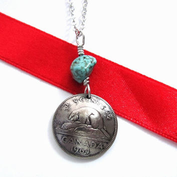 Canadian Coin Necklace, Beaver, 5 Cents, 1964, Queen Elizabeth, Wire Wrapped Turquoise Pendant Handmade Jewelry by Hendywood