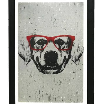 """Golden Retriever with Red Glasses Art Print / Poster - 13x19"""""""