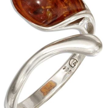 Sterling Silver Adjustable Single Teardrop Honey Baltic Amber Bypass Ring