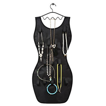Flatworld Hanging Jewelry Organizer 22 Pockets 18 Earrings Storage 14 Hook Gift Black