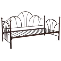 Twin Size Day Bed Frame With Slats In Bronze Metal Finish