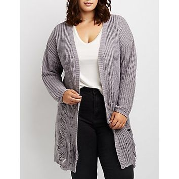 Plus Size Destroyed Open-Front Cardigan | Charlotte Russe