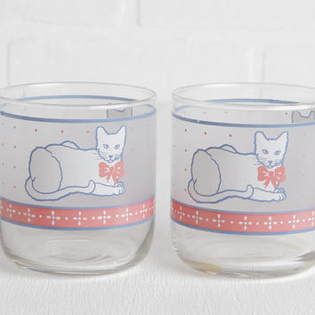 Vintage White Cat Juice Glasses, Retro Kitty Drinkware or Barware, Cats with Bows, Cat Lovers Gift