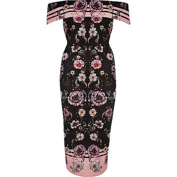 Pink floral print bardot midi dress