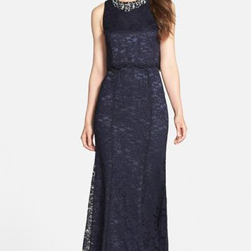 Women's Eliza J Embellished Lace Gown,