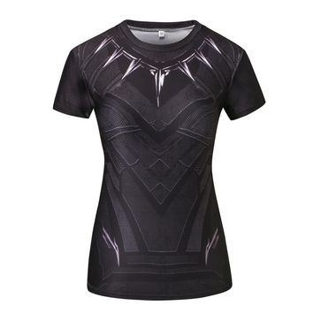 Black Panther Compression Shirt 3D Printed T-shirt Women Captain America Slim short Sleeve Tops Female Cosplay Costumes For Lady