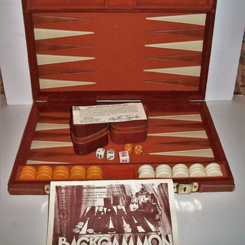 1970s Vintage Backgammon Game Corduroy Leather Pacific Game Company Complete Includes Instructions