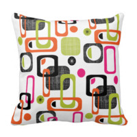 Funky Bright Fresh Colorful Geometric Fabric Print Throw Pillows