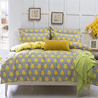 2016 Hot Sale Yellow Pear Home Textiles Plain Printed Duvet Cover Cheap Soft Bedding Sets Twin Queen King Size