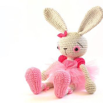 PATTERN: Ballerina Bunny - Crochet tutorial - Amigurumi pattern - Soft toy rabbit - Cute toy ballerina - EN-038