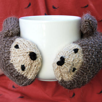 Free Knitting Pattern For Hedgehog Mittens : Shop Handmade Wool Gloves on Wanelo