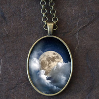 Full Moon and Clouds Necklace, Night Sky Pendant, Oval Necklace (1566B)
