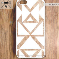 iPhone 5 Case - iPhone 4S Case, Wood Effect iPhone 4 Case, White and Beige Tribal iPhone 4 Case, iPhone 5 Cover