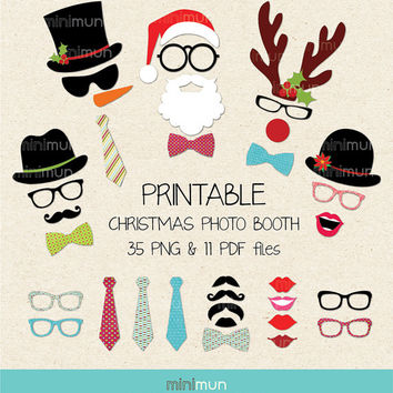 20% OFF PDF files Printable Christmas Photo Booth Props. Christmas Party Printables. DIY Printable Photo Booth Props
