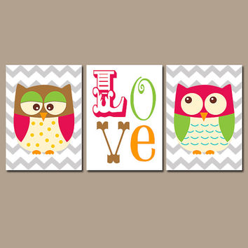 OWL Wall Art Nursery Canvas Artwork Girl Boy Twins Child LOVE Quote Chevron Pattern Set of 3 Trio Prints Baby Bedding Crib Decor Three