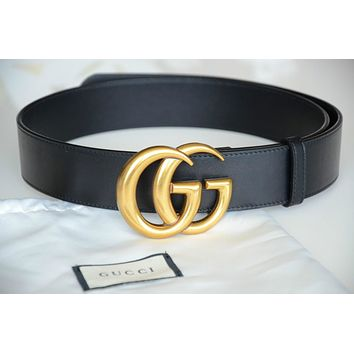 Unisex Gucci Belt BLACK Leather GG Gold Buckle size 90 fits 30-32