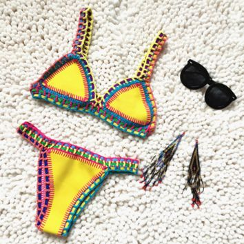 High quality !2017 HOT ! Sexy Handmade Crochet Bikini Swimsuit Brazilian Bikini Crochet Swimwear Bathing Suit