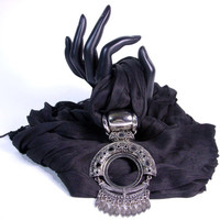 Ready to Ship! Elegant Black Dream Voile Necklace Scarf, Pashmina, Shawl, Hijab With Stylish Metal Pendant 527