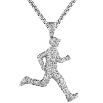 Mens White Icy Running Man Emoji Custom Rapper Pendant