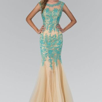 Lace Tiffany blue Mermaid Prom dress  #gl2054