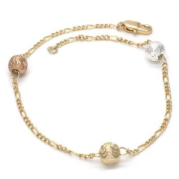 Gold Plated 03.08.0129.09 Fancy Bracelet, Ball Design, Diamond Cutting Finish, Tri Tone