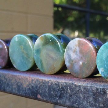 "BIG Indian Jasper Stone Plugs 9/16"" (14mm) 5/8"" (16mm) 11/16"" (18mm) 3/4"" (19mm) 7/8"" (22mm) One Inch (25mm)"