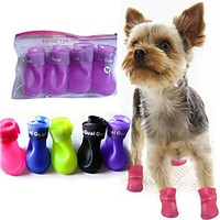 [NewYearSale]Cute Pet Rain Shoes Boots Protective for Pets Dogs - Default