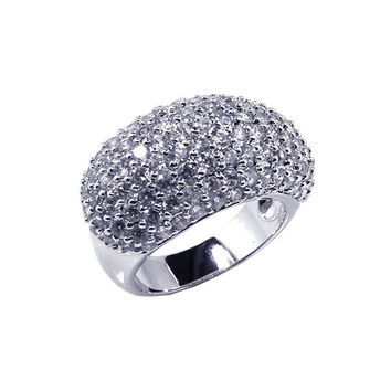 .925 Sterling Silver Rhodium Plated Pave Set Cubic Zirconia Dome Ring: Size:5
