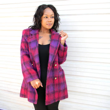 Double Breasted Winter Coat - Vintage 80s Vibrant Magenta/Hot Pink/Purple Plaid Mohair Pea Coat w Chunky Gold Buttons - L/Size 14