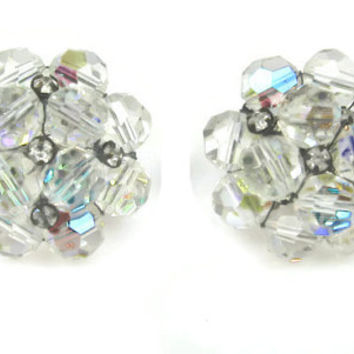 Vogue Aurora Borealis Crystal Earrings Vintage