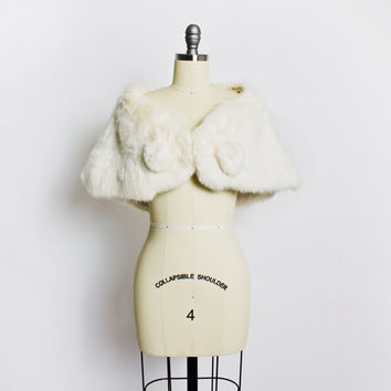 Vintage 50s Fur Stole - White Rabbit Plush Fluffy Wrap Jacket 1950s - Small / XS