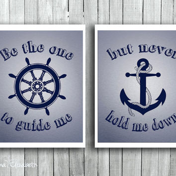 Typography Art print Be the one to guide me Inspirational quote Nautical Wall decor Navy Blue Gift for child Anchor Ship wheel