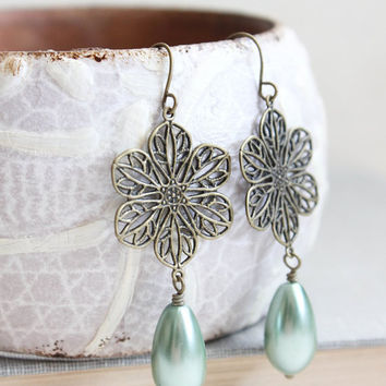 Aqua Pearl Earrings Flower Filigree Rustic Vintage Style Bridesmaids Jewelry Bridal Jewelry Long Dangle Earrings Nickel Free Womens Jewelry