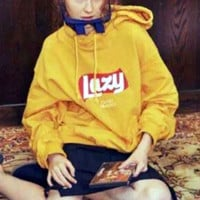Retro letters LOGO printing and flocking warm hooded sweater Yellow