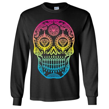 Neon Diamond Eyes Smiling Sugar Skull Long Sleeve Shirt